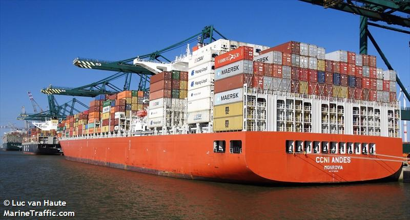 vessel details for ccni andes container ship imo 9718935 mmsi