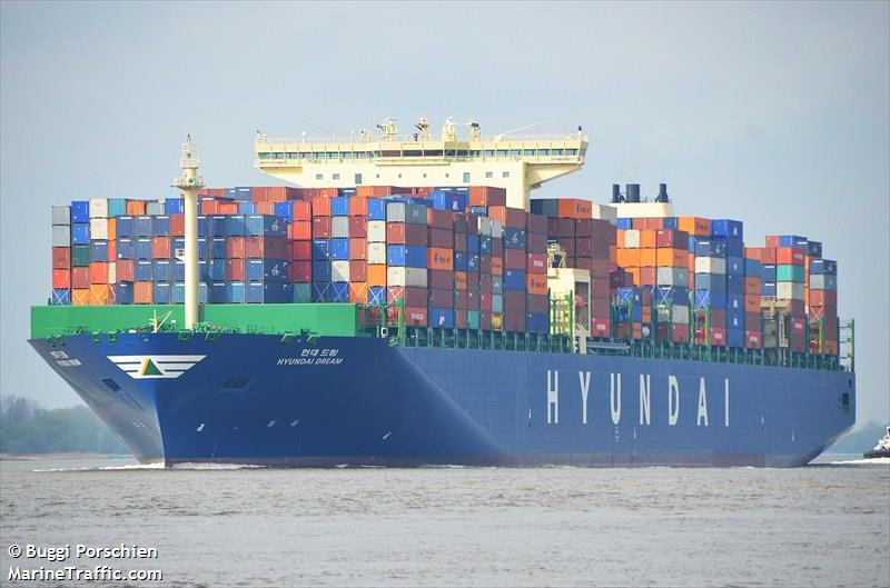HYUNDAI DREAM - Container Ship: current position and ...