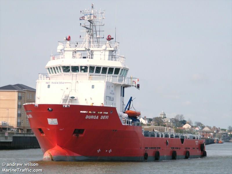 Vessel details for: DURGA DEVI (Supply Vessel) - IMO 9444364, MMSI 636015968, Call Sign D5DT7 ...